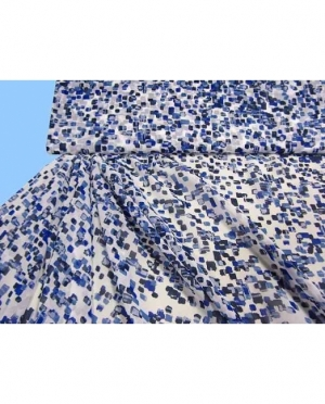 Chiffon bedruckt weiss royalblau