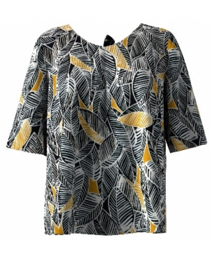 Bluse mit rückwärtigem V-Ausschnitt Zw..